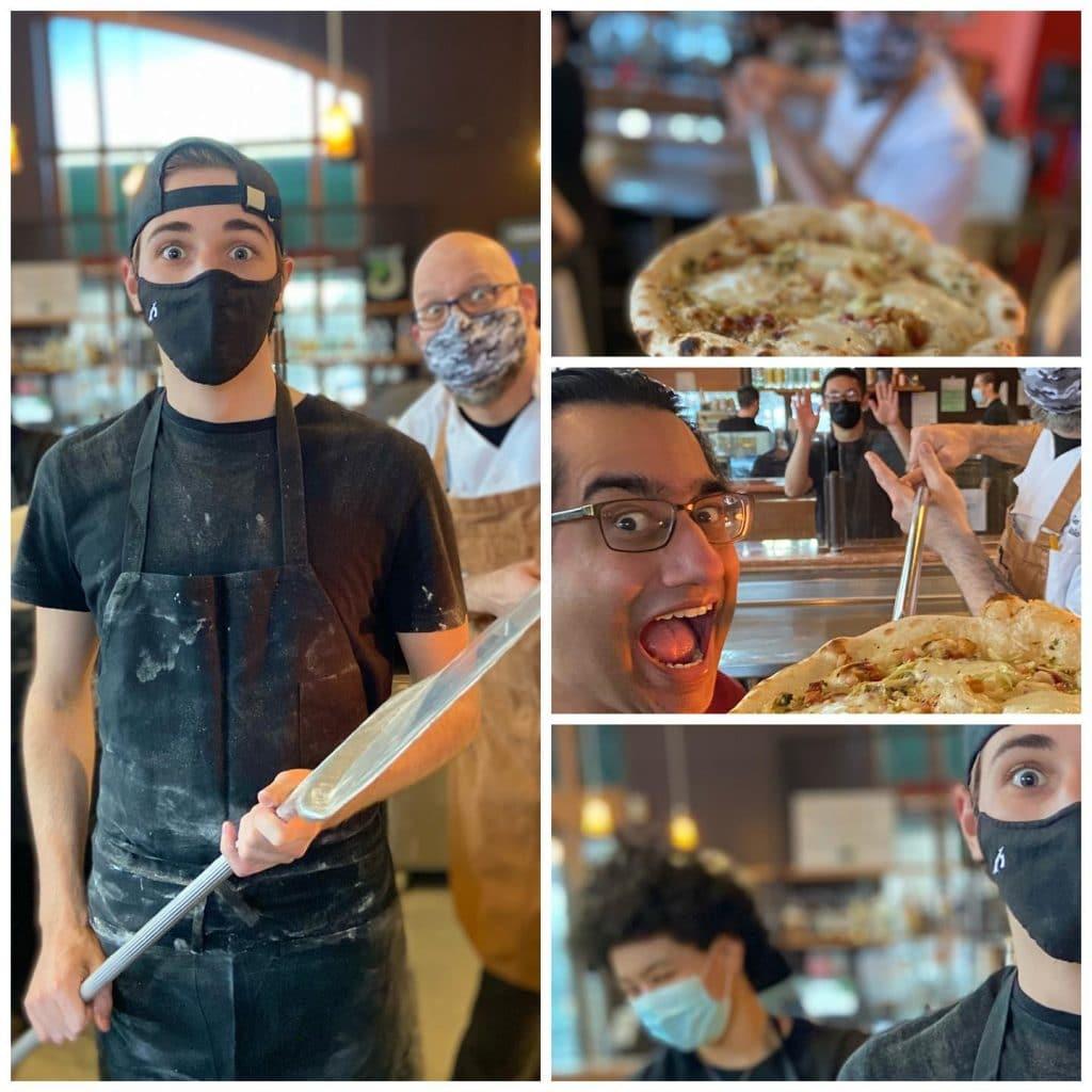 Staff at Fondi Pizzeria, in Gig Harbor, WA making pizza