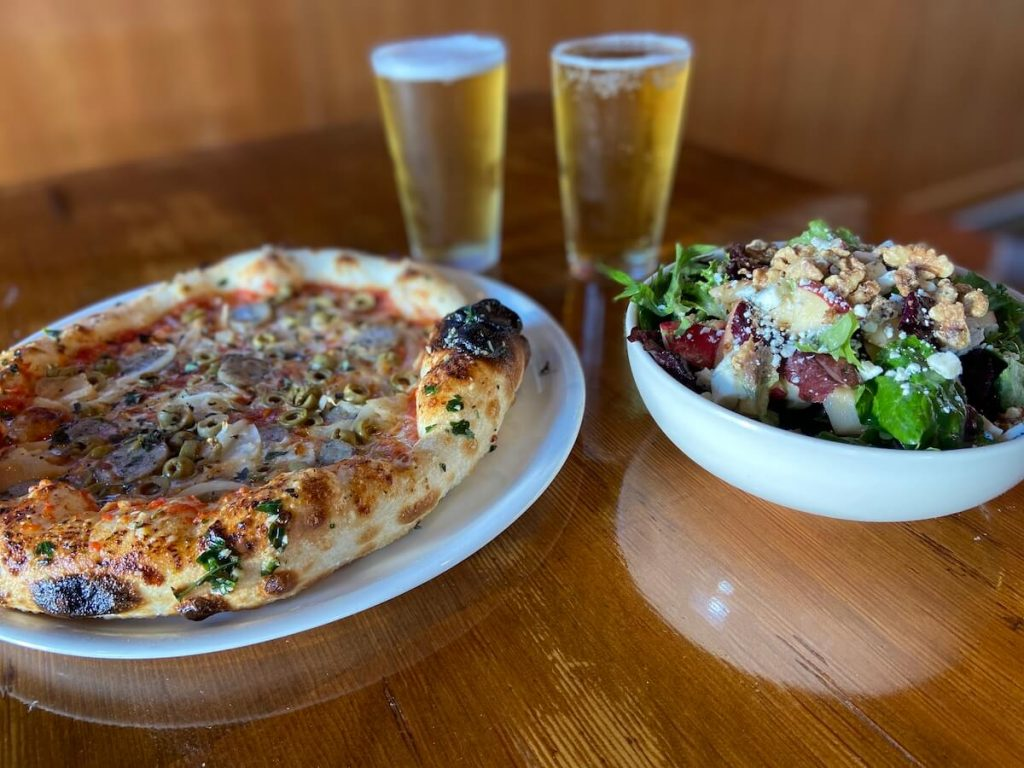 Pizza, side salad, and two beers at Fondi Pizzeria in Gig Harbor, WA